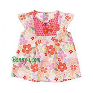 Mixed Print Ruffle Top[3T]